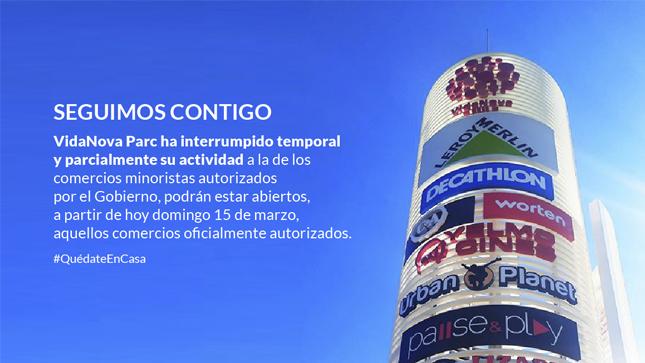 El Parque Comercial VidaNova Parc reduce su actividad a la de los comercios minoristas autorizados por el Gobierno